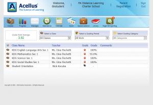 Acellus Student Grade Screen